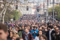 Protest against election of premier Aleksandar Vucic as president, Belgrade Stock Photo