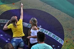 Protest against federal government corruption in Brazil Stock Images