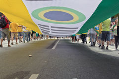 Protest against federal government corruption in Brazil Stock Photos