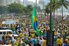 Protest against federal government corruption. RIO DE JANEIRO, RJ/Brazil - MARCH 15, Brazilians take the street of Rio de Janeiro to protest against federal Royalty Free Stock Photos
