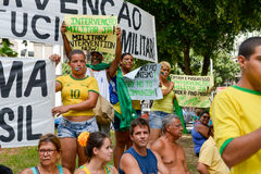 Protest against federal government corruption. RIO DE JANEIRO, RJ/Brazil - MARCH 15, Brazilians take the street of Rio de Janeiro to protest against federal Royalty Free Stock Images