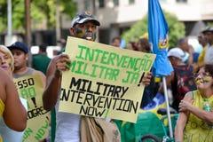 Protest against federal government corruption. RIO DE JANEIRO, RJ/Brazil - MARCH 15, Brazilians take the street of Rio de Janeiro to protest against federal Stock Photos