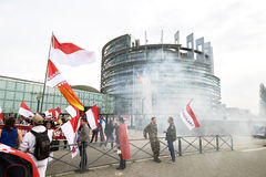 Protest against fusion of Alsace region with Lorraine and Champa Stock Image
