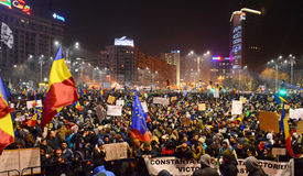 Protest against the government in Bucharest Stock Image