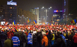 Protest against the government in Bucharest Royalty Free Stock Photo