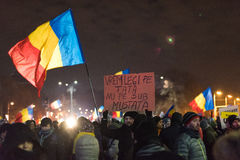 Protest against government in Bucharest, Romania Stock Photos