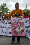 Protest against government corruption. BANGKOK, July 14: A protestor decries government corruption as anti-government protestors supporting the white-mask Stock Photography