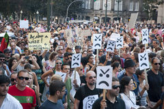 Protest against government cuts, Porto stock photo