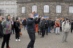 PROTEST AGAINST GOVERNMENT INFRONT PARLIAMENT. COPENHAGEN / DENMARK_ 19 April 2016 _ Danes stange protest rally infront the danish parliament agiant govenment Royalty Free Stock Photos