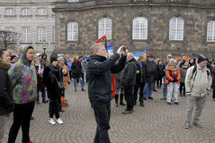 PROTEST AGAINST GOVERNMENT INFRONT PARLIAMENT. COPENHAGEN / DENMARK_ 19 April 2016 _ Danes stange protest rally infront the danish parliament agiant govenment Royalty Free Stock Photo