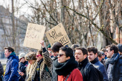 Protest against Labour reforms in France. STRASBOURG, FRANCE - 9 MAR 2016: New working law is shit palcard as thousands of people demonstrate as part of Royalty Free Stock Photography