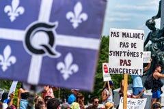 Protest against mandatory masks in Quebec