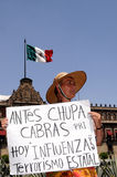 Protest against Mexican government. A protestor holds a sign that blames the Mexican government for the Swine Flu on the Zocalo square outside Palacio Nacional stock photos