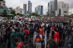 Protest against the rise of bus fare. Sao Paulo, Brazil - 14 January, 2016 - protest agains the rise of public transport fare in Sao Paulo Stock Images