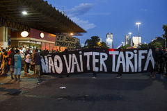 Protest against rising bus fares in Rio de Janeiro Stock Photo