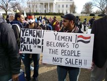 Protest Against Saleh at the White House Stock Images