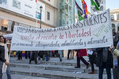 Protest against Syrian war, IS terrorism and islamophobia in Europe, at Madrid City center Stock Image