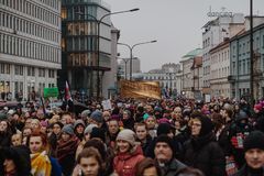 Black Friday - Black Protest, Poland. Protest against the tightening of the abortion law. March 23, 2018. Warsaw, Poland Royalty Free Stock Photo