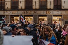 Black Friday - Black Protest, Poland. Protest against the tightening of the abortion law. March 23, 2018. Warsaw, Poland Stock Photography