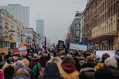 Black Friday - Black Protest, Poland. Protest against the tightening of the abortion law. March 23, 2018. Warsaw, Poland Stock Photos