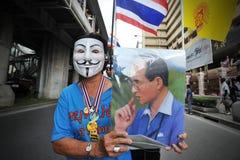 Protest Anti--regering 'för vit maskering' i Bangkok Fotografering för Bildbyråer