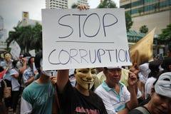 """Protest Anti--regering """"för vit maskering"""" i Bangkok Royaltyfri Bild"""