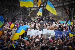 Protest auf Euromaydan in Lemberg Stockbild