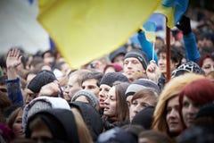 Protest auf Euromaydan in Lemberg Stockfotos