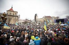 Protest auf Euromaydan in Lemberg Lizenzfreie Stockfotos