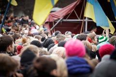 Protest auf Euromaydan in Lemberg Stockbilder