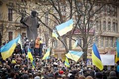 Protest auf Euromaydan in Lemberg Stockfotografie