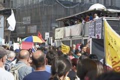 Protest av lärare mot socialförsäkringreform brazil paulo sao royaltyfri bild