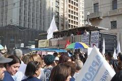 Protest av lärare mot socialförsäkringreform brazil paulo sao royaltyfri foto