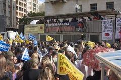 Protest av lärare mot socialförsäkringreform brazil paulo sao royaltyfria bilder