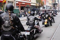 Protest av motorcykelklubbor Oslo royaltyfria foton