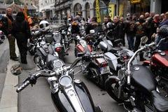 Protest av motorcykelklubbor Oslo Fotografering för Bildbyråer