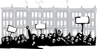 Protest Baltimore. Woodcut style image of a riot or protest in front of Baltimore Row houses stock illustration