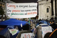 Protest banner by St Pauls, London, England Royalty Free Stock Photography