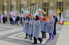 Protest betreffende verkeerde opsluiting in Iran Stock Foto's