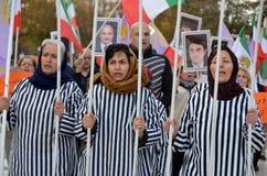 Protest betreffende verkeerde opsluiting in Iran Stock Afbeeldingen