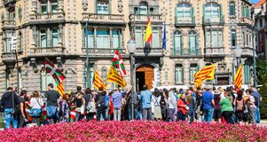 Catalunia protest. Protest in bilbao against spain royalty free stock photo