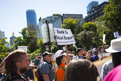 Protest Bills C-51 (Terroristenbekämpfungs-Tat) in Vancouver Lizenzfreie Stockfotografie