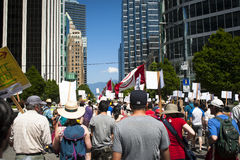 Protest Bills C-51 (Terroristenbekämpfungs-Tat) in Vancouver Stockbilder