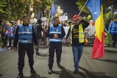 Protest in Boekarest - 05 November 2017 Royalty-vrije Stock Foto's