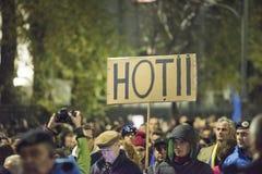 Protest in Boekarest - 05 November 2017 Royalty-vrije Stock Afbeeldingen