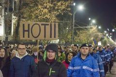 Protest in Boekarest - 05 November 2017 Royalty-vrije Stock Foto