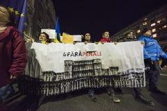 Protest in Boekarest - 05 November 2017 Stock Foto's