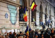 Protest in Boekarest, Roemenië stock foto's