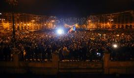 Protest in Boekarest, Roemenië royalty-vrije stock fotografie