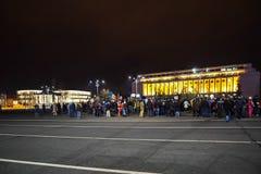 Protest in Boekarest, Roemenië Stock Foto